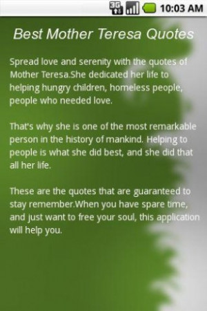 View bigger - Best Mother Teresa Quotes for Android screenshot