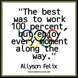 Inspirational olympic quotes the best was to work 100 percent but ...