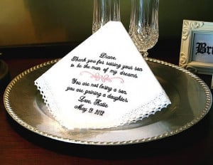 Mother of The Groom Hankie - Man of my Dreams - You are not losing a ...
