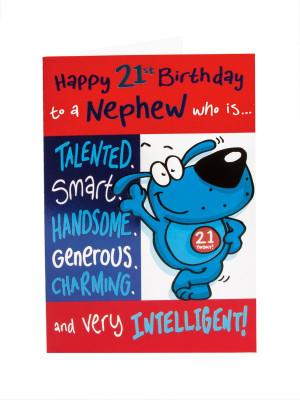 Happy 21st Birthday Card - For Nephew