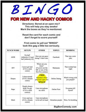 BINGO! For New and Hacky Comics