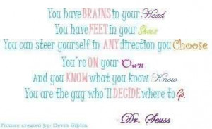 Best Graduation Quote BY Dr. Seuss ~ You have Brains in your Head ….