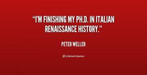 "finishing my Ph.D. in Italian Renaissance history."""