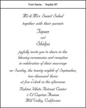 hindu personal wedding invitation wording