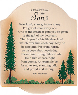 Prayer For My Son Plaque