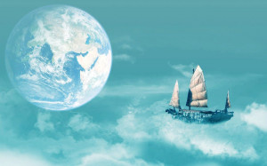 Sailboat floating on clouds wallpaper