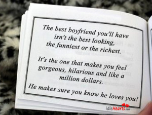 The best boyfriend you'll have isn't the best looking,