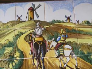 Details about Vintage Spanish Tile Mural Don Quixote Sancho Panza
