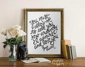 Quote Print, Printable art wall decor, Inspirational Jane Austen ...