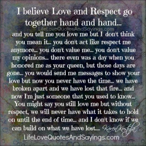 Believe Love And Respect..