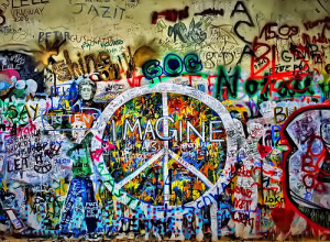 beatles, colors, imagine, love, music, peace, wall
