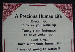 Dalai-Lama-Quotes-Cotton-Canvas-Scroll-A-Precious-Human-Life-Natural ...