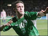 Robbie Keane celebrates his winning goal against Croatia