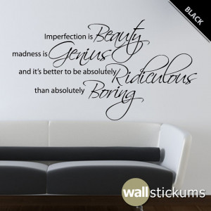Marilyn Monroe Wall Decal Quote Vinyl Imperfection is Beauty 2 Living ...
