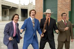 ), Ron Burgundy (Will Ferrell), Champ Kind (David Koechner) and Brick ...