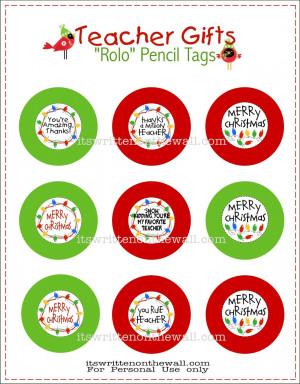 Freebie) Teacher Christmas Gift-Rolo Pencils w/Tags