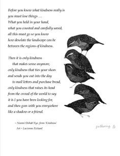 Naomi Shihab Nye, from 'Kindness' with art: Gathering ~ Lucienne ...
