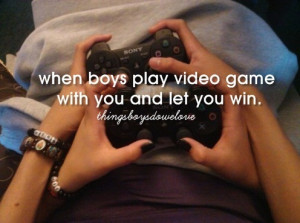 boy, cute, girl, love, play, quote, text, togheter, video games