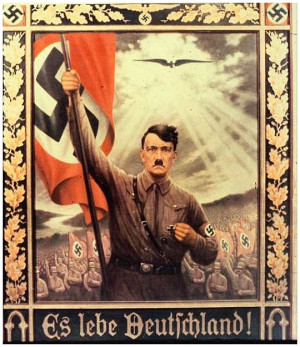 ... of heaven over an idealized Hitler. The text: