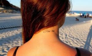 kiss, neck, originality, quote, tattoo