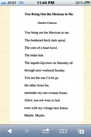 Sandra Cisneros Quotes On Love In me - sandra cisneros