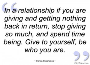 in a relationship if you are giving and