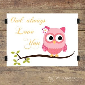 Owl always love you art print soft pink