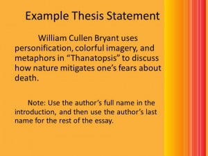 Example Thesis Statement William Cullen Bryant uses personification ...