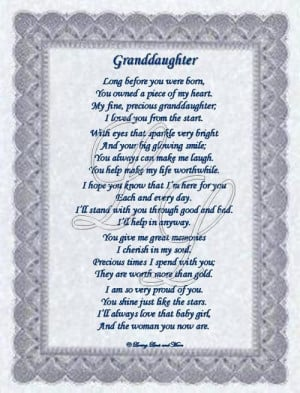granddaughter poems from grandma | Granddaughter poem is for the ...
