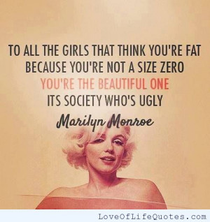 Marilyn Monroe quote on the size of women
