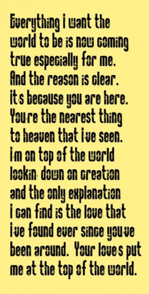 The Carpenters - Top Of The World - song lyrics, song quotes, music ...