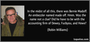 In the midst of all this, there was Bernie Madoff. An embezzler named ...