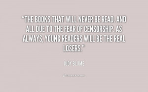 The books that will never be read. And all due to the fear of ...
