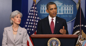 Kathleen Sebelius and Barack Obama are pictured. | Getty