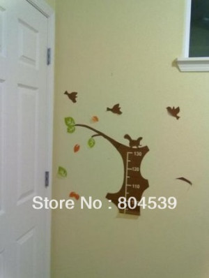 tree height measurement growth chart with quote wall sticker decal for