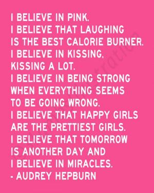 Believe in Pink Audrey Hepburn Quote Print 8 x 10 Inspirational Wall ...