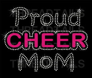 Proud Cheer Mom Rhinestone Bling T-shirt. Tees for Mothers of ...