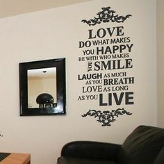 ... Laugh Family Smile Happy Art Wall Quotes / Wall Stickers/ Wall Decals