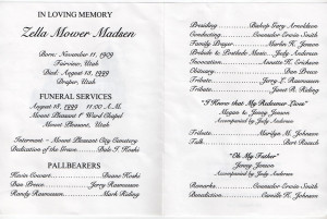Funeral Program For Mary...
