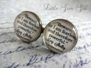 ... Brass Cuff links - Vintage Gothic Horror Mary Shelley Book Quote
