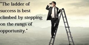 The ladder of success is best climbed by stepping on the rungs of ...