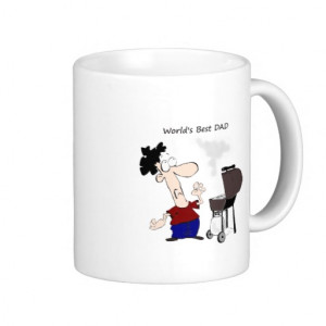 World's Best Dad Fun Quote Barbecue Cartoon Coffee Mug