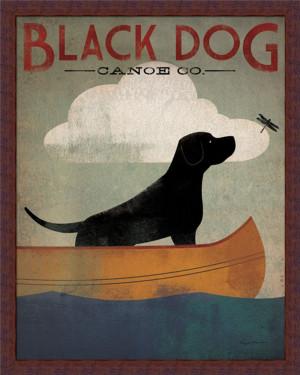 Black-Dog-Canoe-by-Ryan-Fowler-Whimsical-Labrador-Sign-22x28-Framed ...