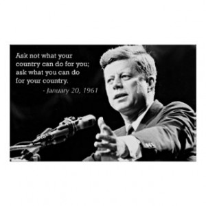 John F Kennedy Motivational Quotes Poster