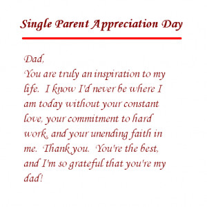 Single Parent Mom Appreciation Letter of Parents Day Happy Parents Day ...