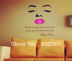 Sexy lips wall quotes Letter and Marilyn Monroe lips Wall Sticker Sofa ...