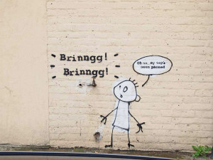Banksy often uses his stenciling technique to show contempt for the ...