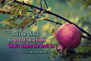 """Quote: """"Don't be afraid to go out on a limb. That's where the fruit ..."""
