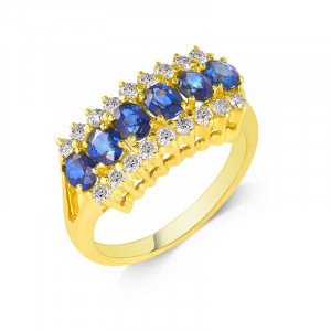 Caterpillar Blue Sapphire and Diamond Ring in 18K Yellow Gold