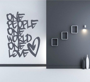 One Love quote decal for housewares by decalSticker on Etsy, $58.90